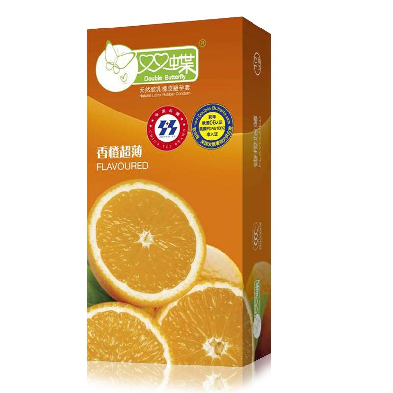 双蝶 避孕套 安全套 成人情趣性用品 香橙香味套套润滑贴身